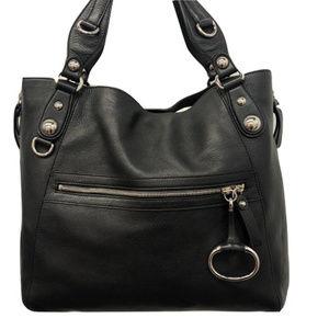 Gucci - Black Leather Horsebit Hobo Tote